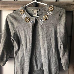 Light Weight Gray Three Quarter Sleeve Cardigan